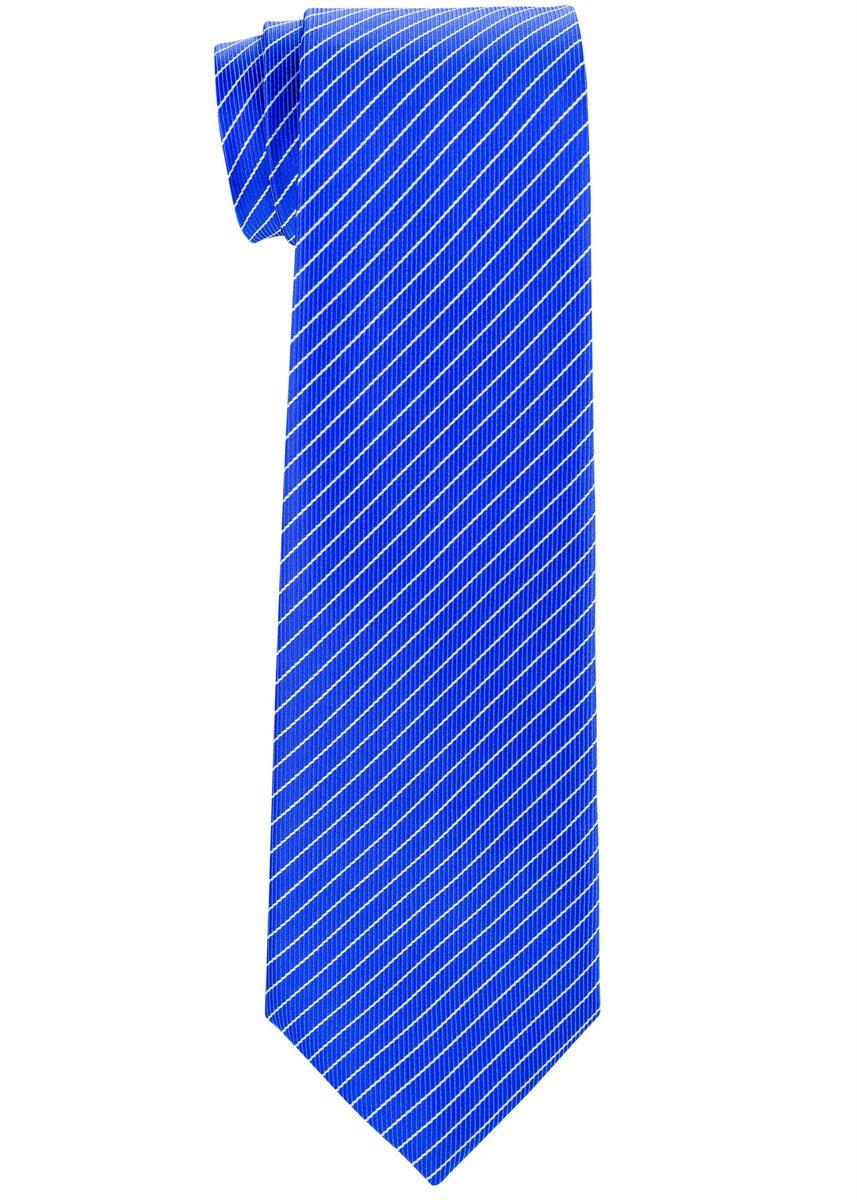 Retreez Stylish Pin Stripes Woven Boy's Tie (8-10 years) - Blue with White