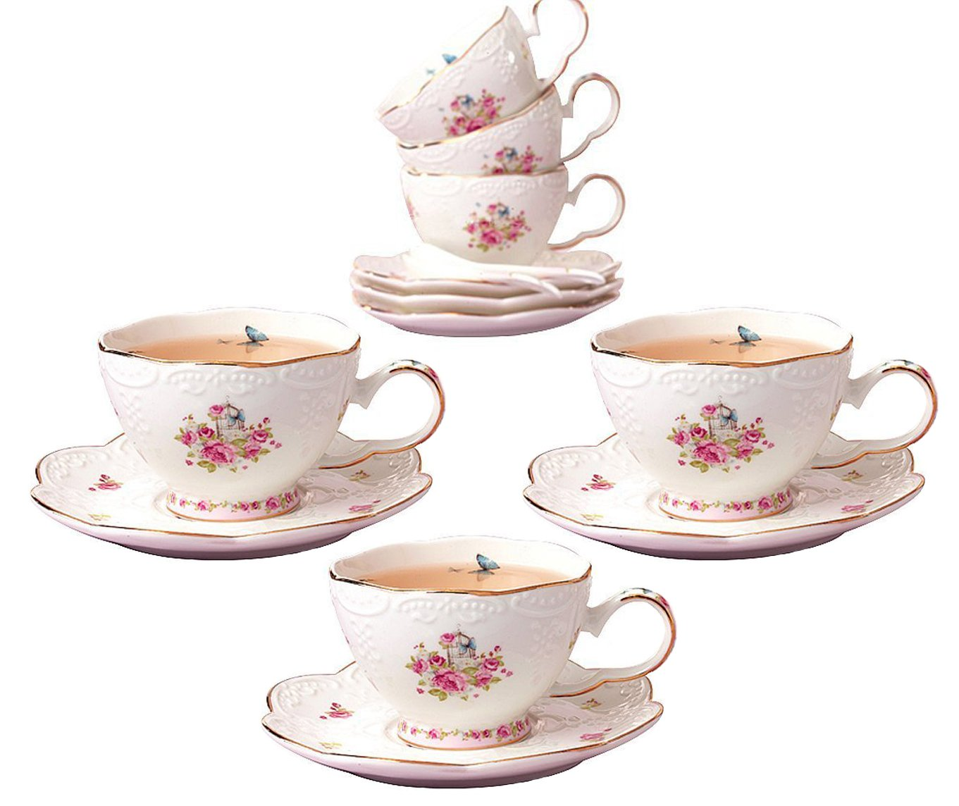 jusalpha porcelain tea cup and saucer set coffee cup set with saucer and spoon 636941126020 ebay. Black Bedroom Furniture Sets. Home Design Ideas