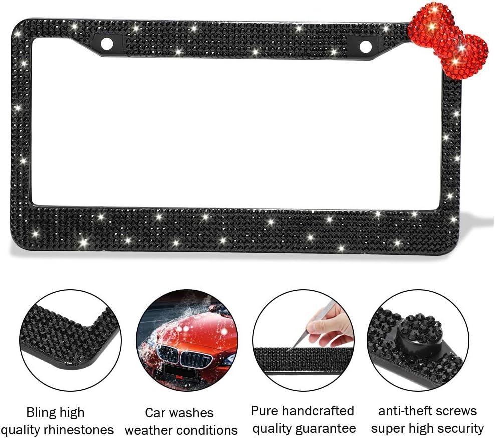 Carfond Pure Handmade 1000+pcs Premium Waterproof Bling Bling Rhinestones Stainless Steel License Plate Frame Bonus Matching Screws Caps Silver+red Bowtie