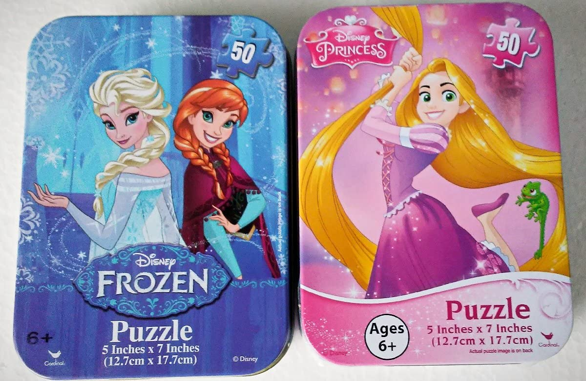Ariel Belle Lot of 4 Mini Jigsaw Puzzle Tin Elsa and Rapunzel