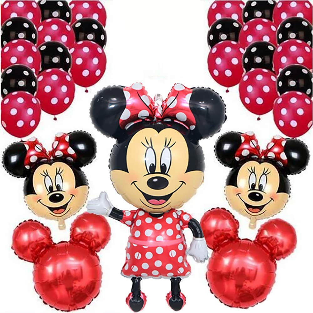 CuteTrees Minnie Mouse 1st 2nd 3rd 4th 5th 6th 7th 8th 9th Birthday Party Balloons Set With Giant Mickey Head Latex Supplies