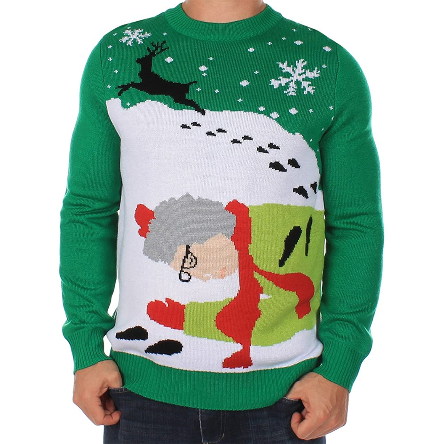 Amazon.com: Men's Ugly Christmas Sweater - Grandma Got Run Over By ...