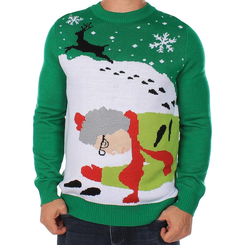Amazon.com: Men's Ugly Christmas Sweater - Grandma Got Run Over By ...