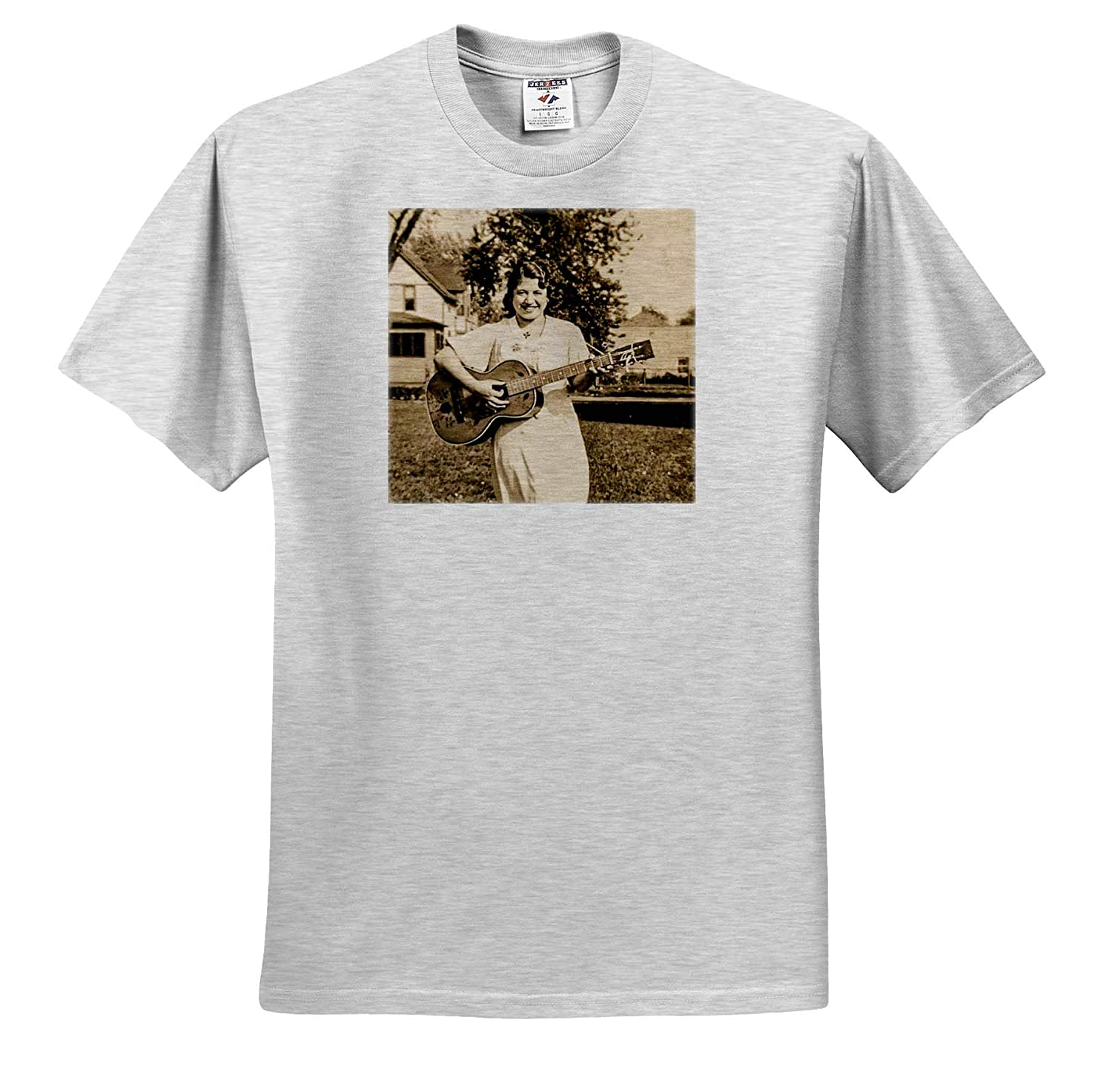 Vintage Photography T-Shirts 3dRose Scenes from The Past Early American Country Folk Singer with Guitar