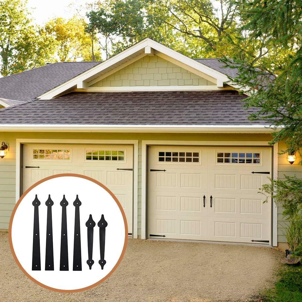 LWZH Metal Gate Door House Hinge Handle Set Screws Included Decorative Garage Door Carriage Accents Door Hardware Black 2 Handles 4 Hinges