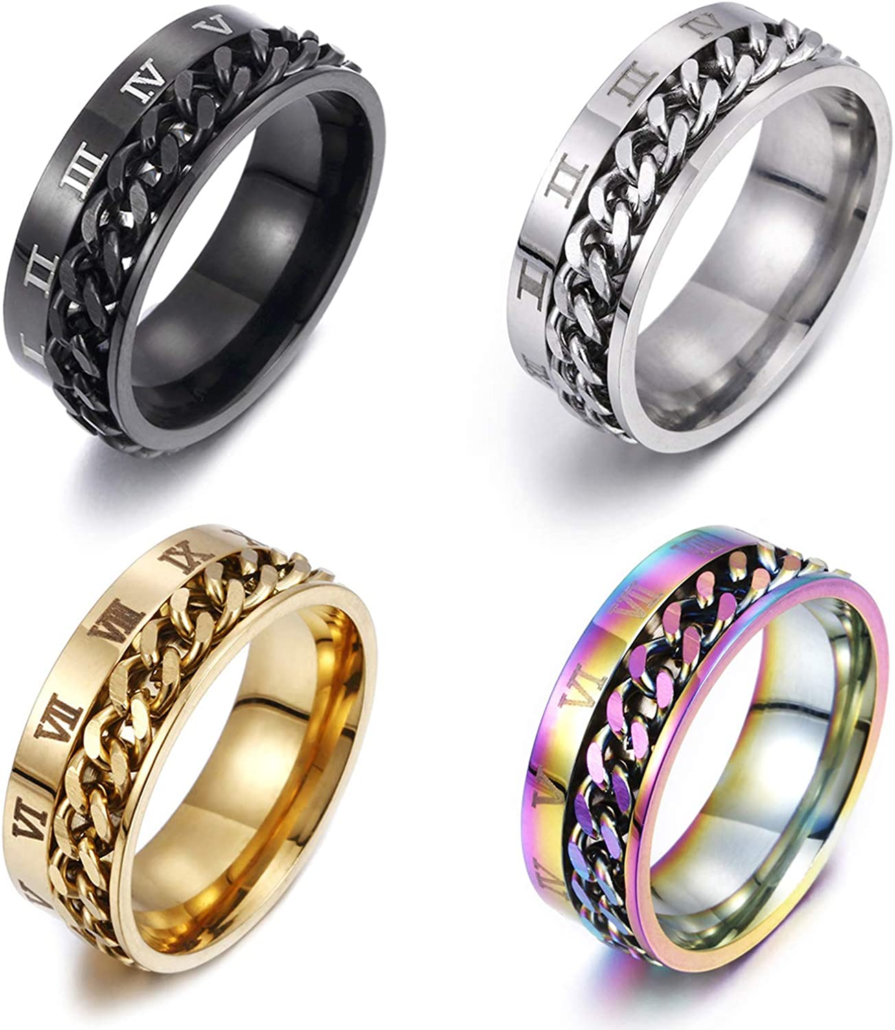Gleamart 4Pcs Stainless Steel Rotatable Chain Ring Roman Numerals Spinner Ring Set for Men