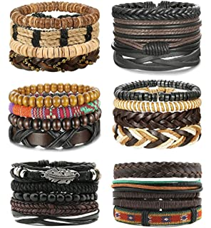 Milacolato 26Pcs Woven Braided Leather Bracelet for Men Women Hemp Cords Wood Beads Cuff Bracelets Adjustable