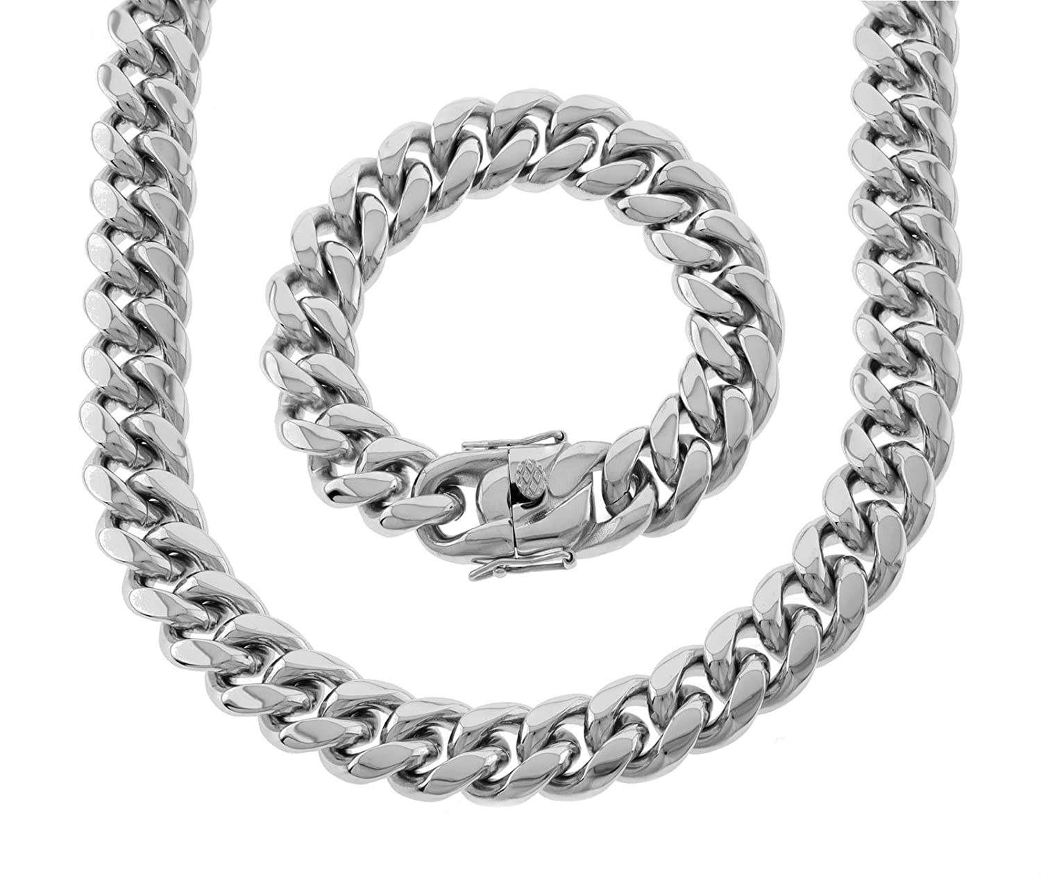 SOLID STAINLESS STEEL ANTI-TARNISH THICK MIAMI CUBAN CHAIN /& BRACELET 18MM 30/'/'