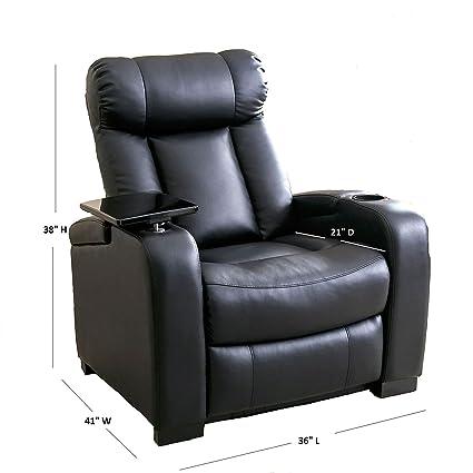 Bon Larson Leather Reclining Home Theater Chair   Black