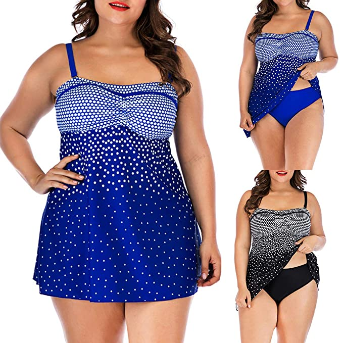 2b3f6541cb992 Amazon.com  Pcongreat 2019 New Women 2 Piece Flounce Polka Dot Printed Tank Top  with Boyshorts Bottoms Tankini Set Bathing Suits  Clothing