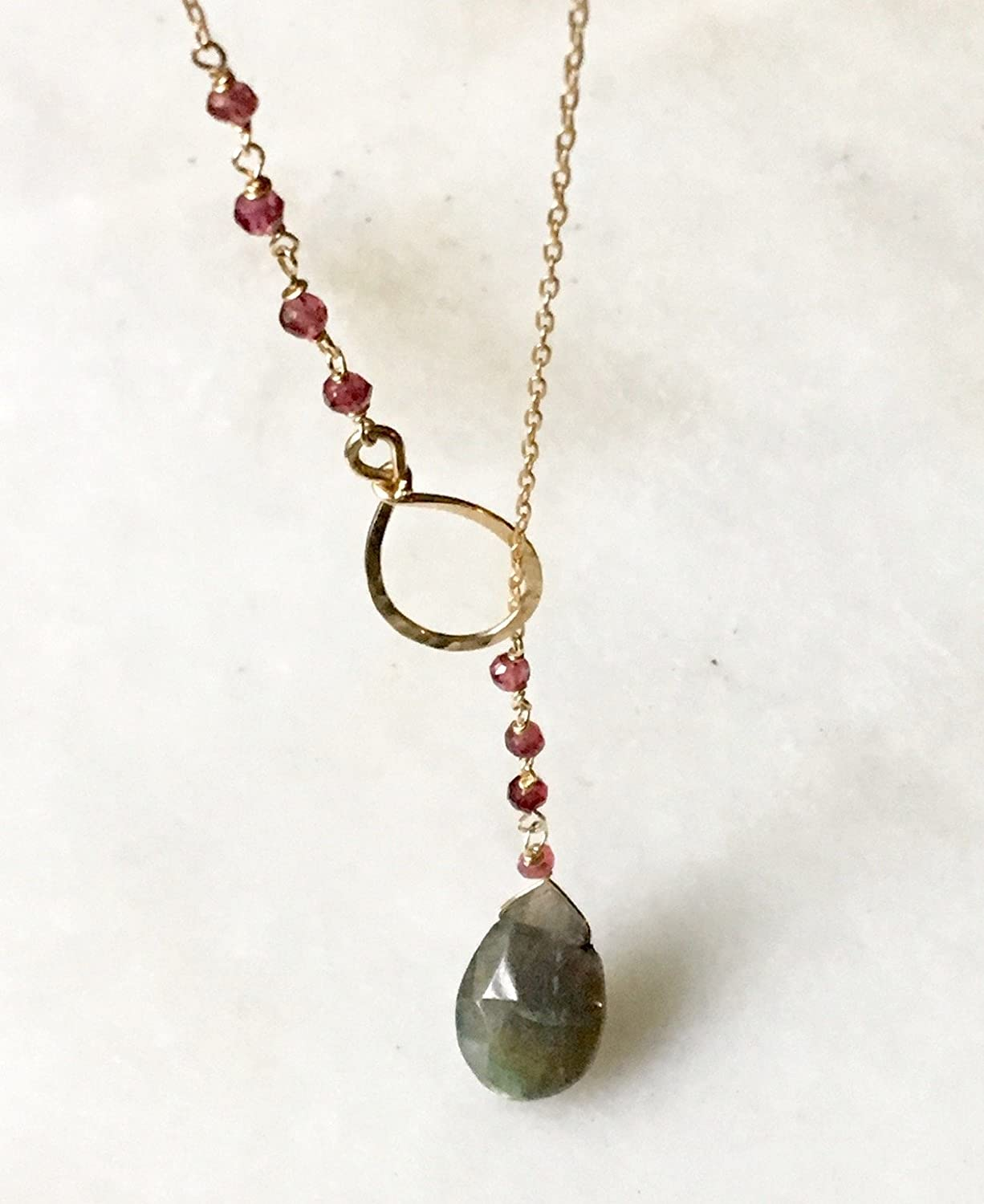 Labradorite and Pink Tourmaline Gemstones Lariat Necklace in Gold -Filled Chain - Handmade