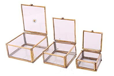 Buy KDT Brass 3 Piece Square Jewellery Box Set of 2 Online at Low ... 75727bd3b1f7a