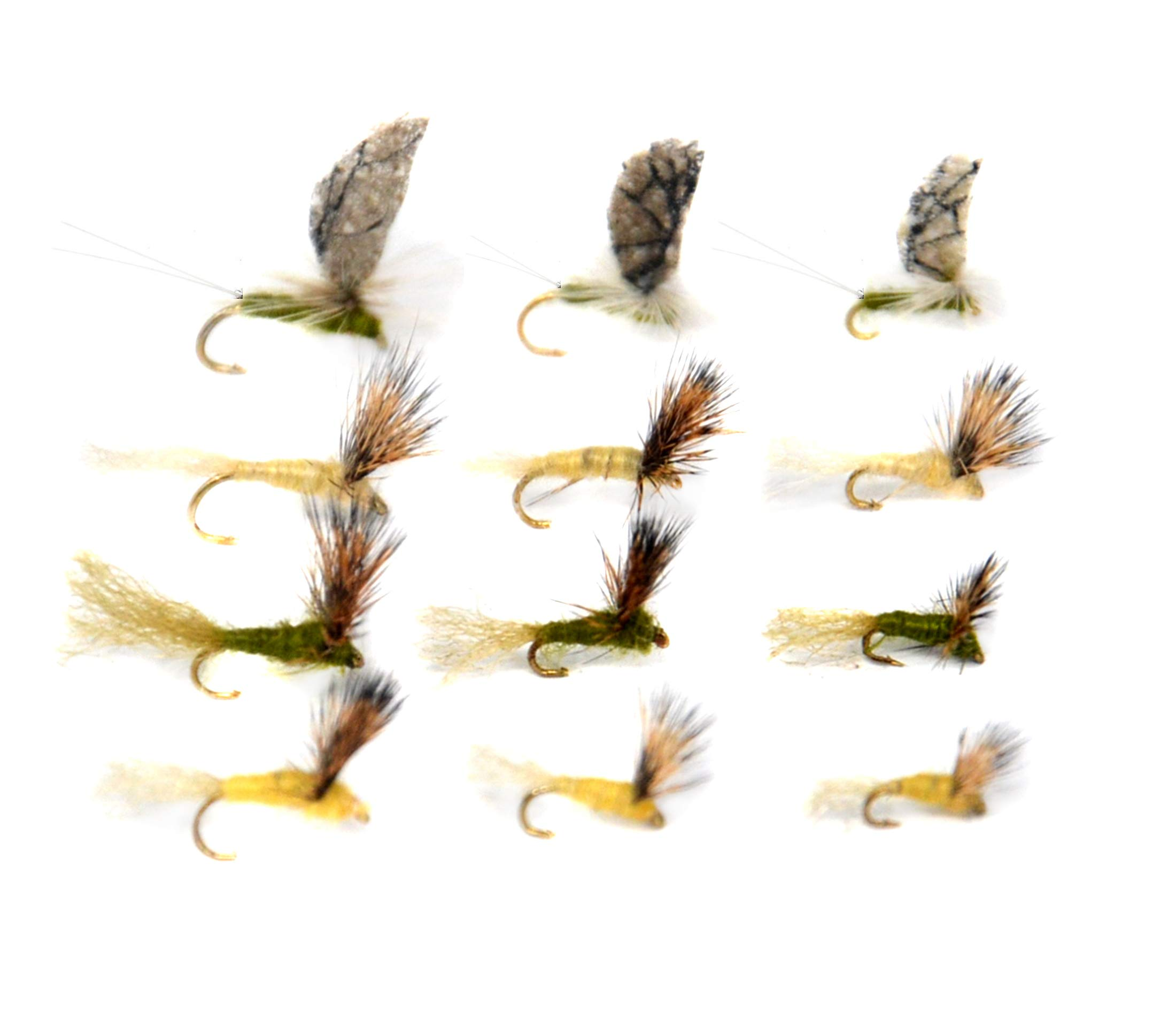 Outdoor Planet 12 Callibaetis&BWO&PMD Sparkle Dun Mayfly/Fly Lure Assotment for Trout Dry Fly Fishing Flies by Outdoor Planet