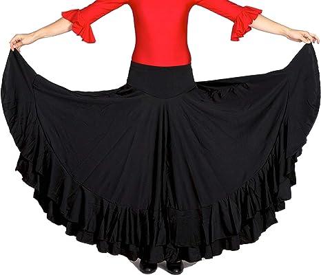 ANUKA Falda Profesional de Mujer para Danza Flamenca. Mucho Vuelo con 7 Metros de Tela. Peso Ideal para los giros. Fabricada en España (Negro/Negro, S): Amazon.es: Deportes y aire libre