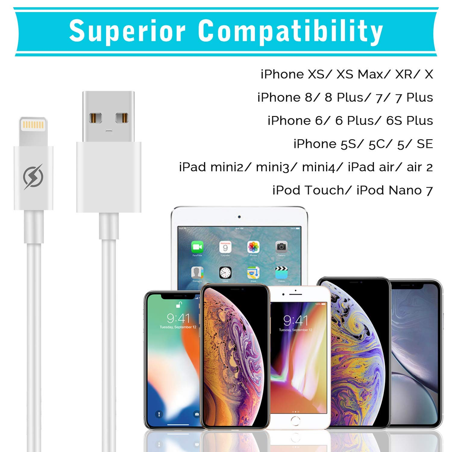 6S// 6S Plus 5S 5 5C SE,Pad and More 7 Car Charger NNICE 2.4A Dual Port Fast USB Car Charger with 2 Pack 3 FT Charging Cable Compatible iPhone Xs//XS MAX//XR//X 3 in 1 8//8 Plus