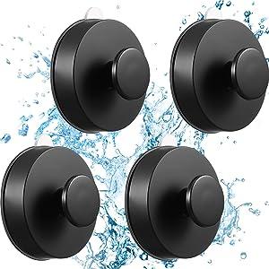 4 Pieces Suction Cup Hooks Shower Hooks Hanger Kitchen Utensil Vacuum Suction Cup Hooks Towel Hanger Storage for Towel, Bath Robe, Coat, Loofah