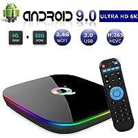 DeWEISN Android 9.0 TV Box, Q Plus Smart Box 4GB RAM 32GB ROM H6 Quad-Core cortex-A53 Mali T720 GPU Reproductor Multimedia 2.4GHz WiFi 6K H.265 100M Enternet con USB 3.0 Caja de Televisor