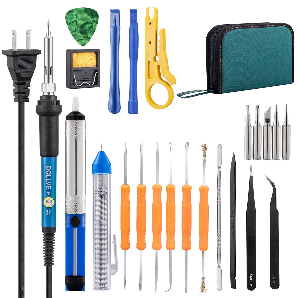 Soldering Iron Kit,Including 60W Temperature Control Soldering Iron, 130PCS Heat Shrink Tubes, Tips, Solder Sucker, Solder Wire, Tweezer (green tool bag)
