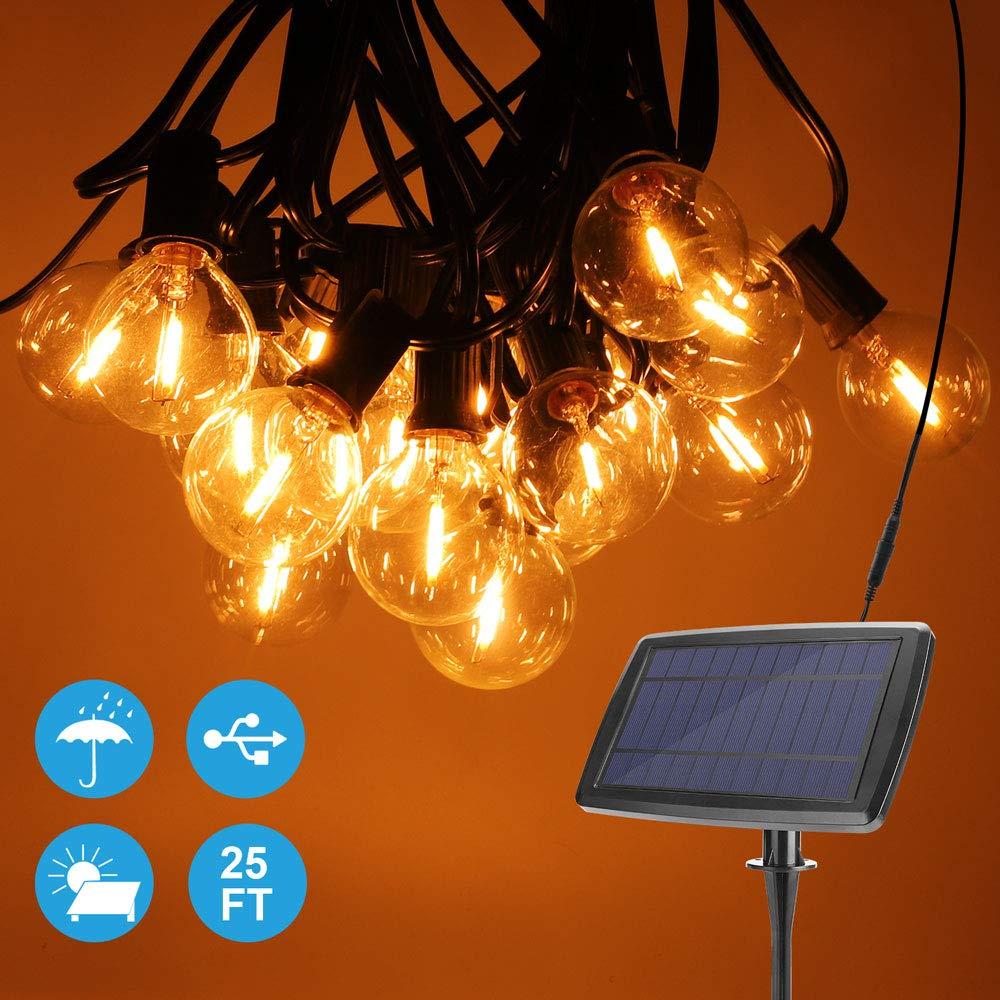Onumii Solar String Lights 25FT 4400mAh, 2200K Amber Light, 25 Sockets 27 G40 LED Bulbs, Romantic Outdoor Decorative String Lights for Yard, Patio, Deck, Pergola, Umbrella Lights