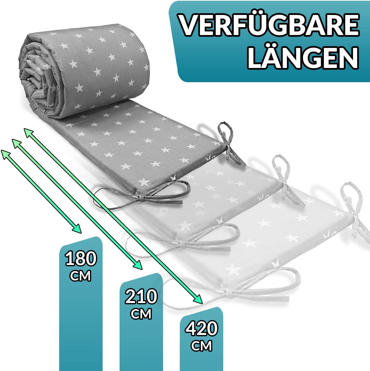 Baby Bed Protection Breathable Flowers Pattern Cot Liner 180 Cot Bumpers All Round Padded