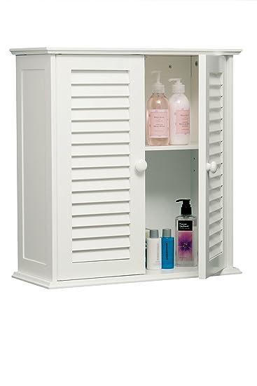 Bad hängeschrank weiß  Premier Housewares Badezimmer-Hängeschrank mit Lamellen-Doppeltür ...