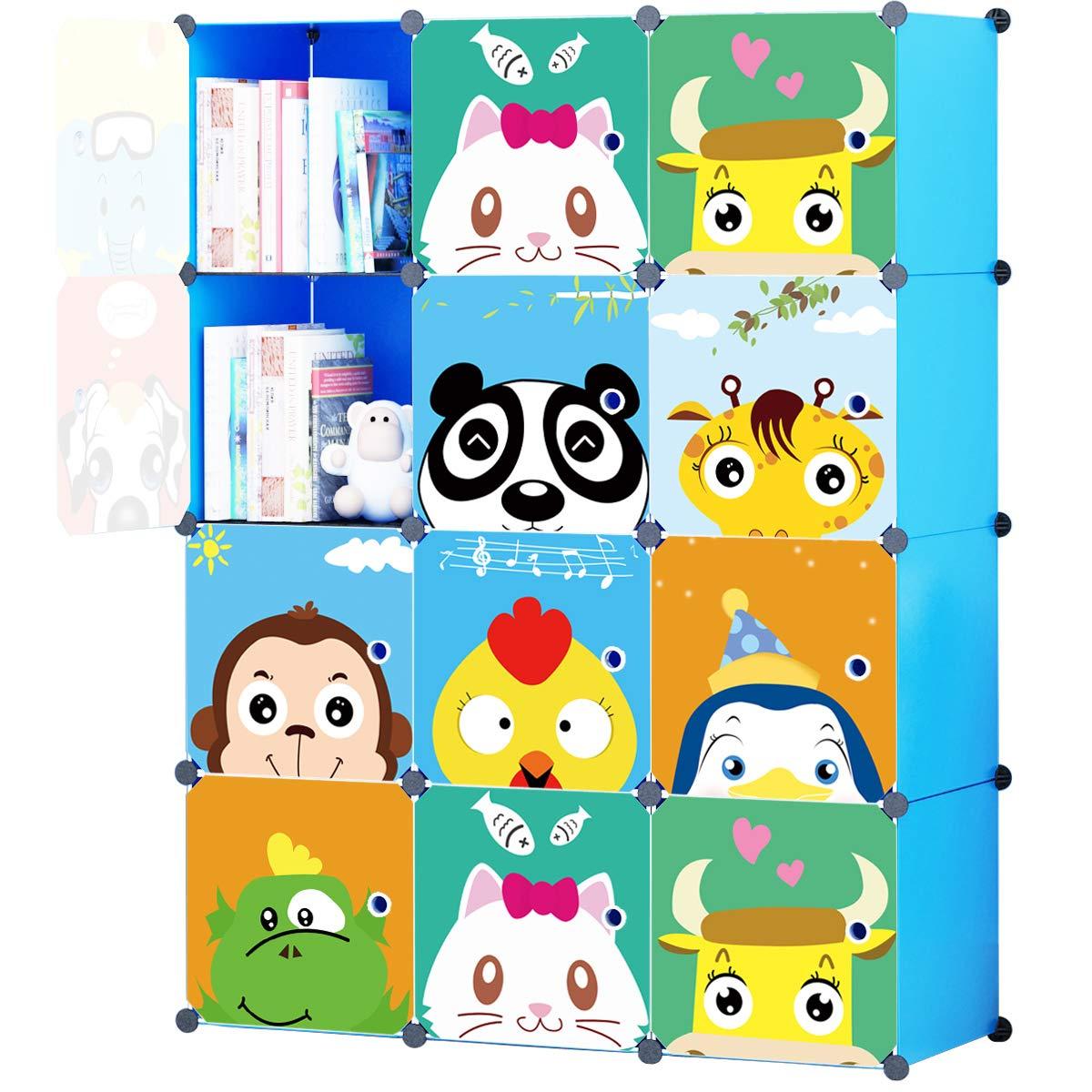 KOUSI Portable Kids Bookshelf Children Toy Organizer Multifuncation Cube Storage Shelf Cabinet Bookcase, Capacious & Study, Blue:12 Cubes by KOUSI (Image #1)