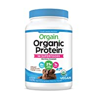 Orgain Organic Plant Based Protein + Superfoods Powder, Vegan, Non Dairy, No Sugar Added, Gluten Free, Soy Free, Non-GMO, Creamy Chocolate Fudge, 2.02 Lb (Packaging May Vary)