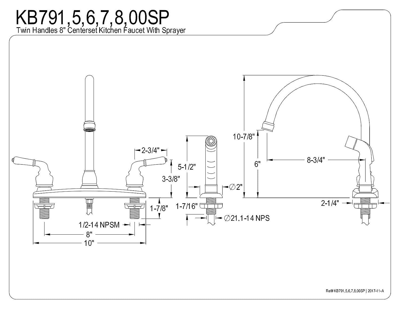 Kingston Brass KB7900SP Magellan Centerset Kitchen Faucet 8-3//4 in Spout Reach Vintage Nickel