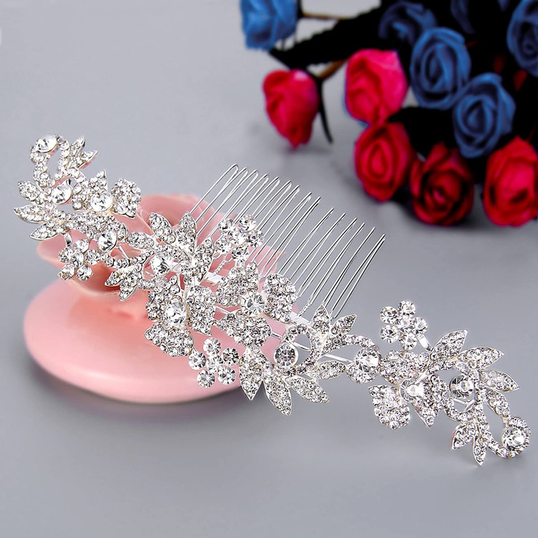 Clearine Women's Bohemian Boho Crystal Cluster Flower Vine Leaf Wedding Bride Bling Hair Comb Clear dd57DfKN31