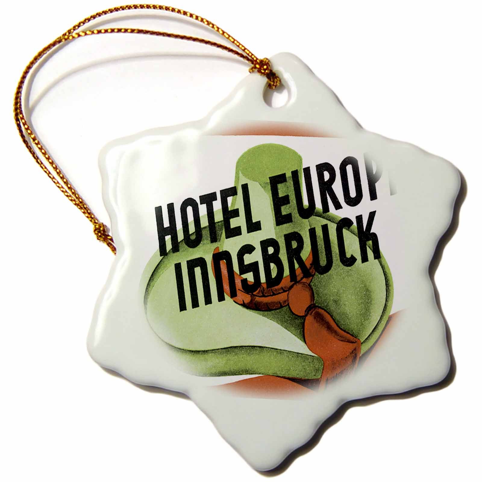 3dRose Vintage Hotel Europa Innsbruck Austria Luggage Label Snowflake Ornament, 3''