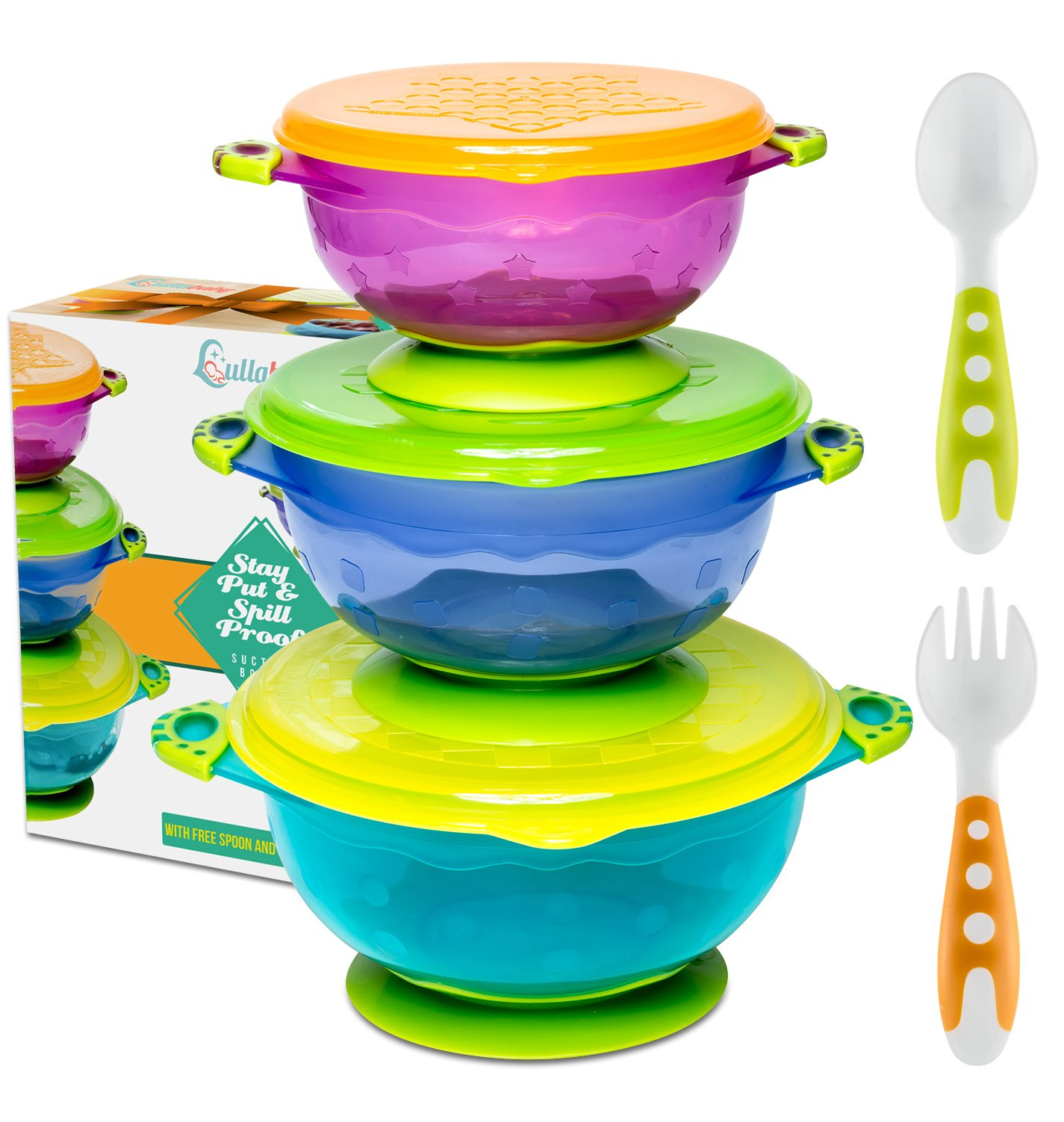 Best Suction Baby Bowls for Toddlers-Toddler Bowls Baby Feeding Set with Baby Utensils | Bonus Baby Spoons and Baby Fork | to Go Baby Bowl with Secure Lids | Suction Plates | BPA Free Suction Bowl by Lullababy