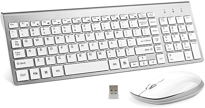 Teclado inalámbrico y ratón, 2,4 GHz USB ergonómico compacto ...