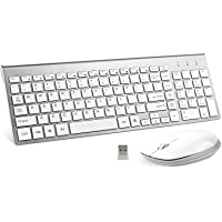 Wireless Keyboard and Mouse Combo, FENIFOX USB Slim 2.4G Wireless Keyboard Mouse Full-Size Ergonomic Compact with Number…