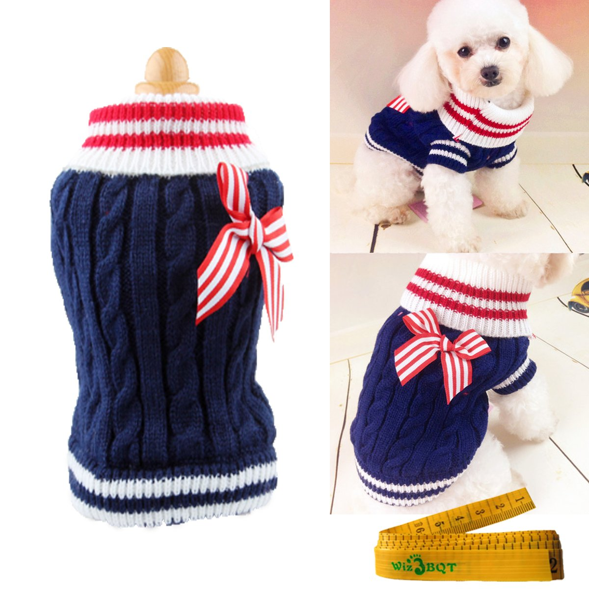 Pet Dog Sweater Knitted Braid Plait Turtleneck Navy Style Bowknot Knitwear Outwear for Dogs & Cats (Blue, XXS)