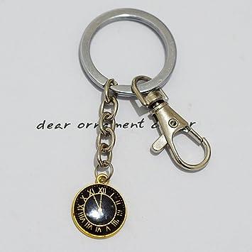 Oro Reloj llavero, encanto reloj, reloj Llavero, llavero de ...
