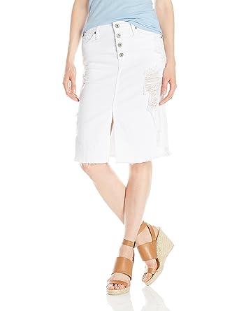 9aec956b3 Amazon.com: James Jeans Women's Lana Knee Length Raw Hem Skirt: Clothing