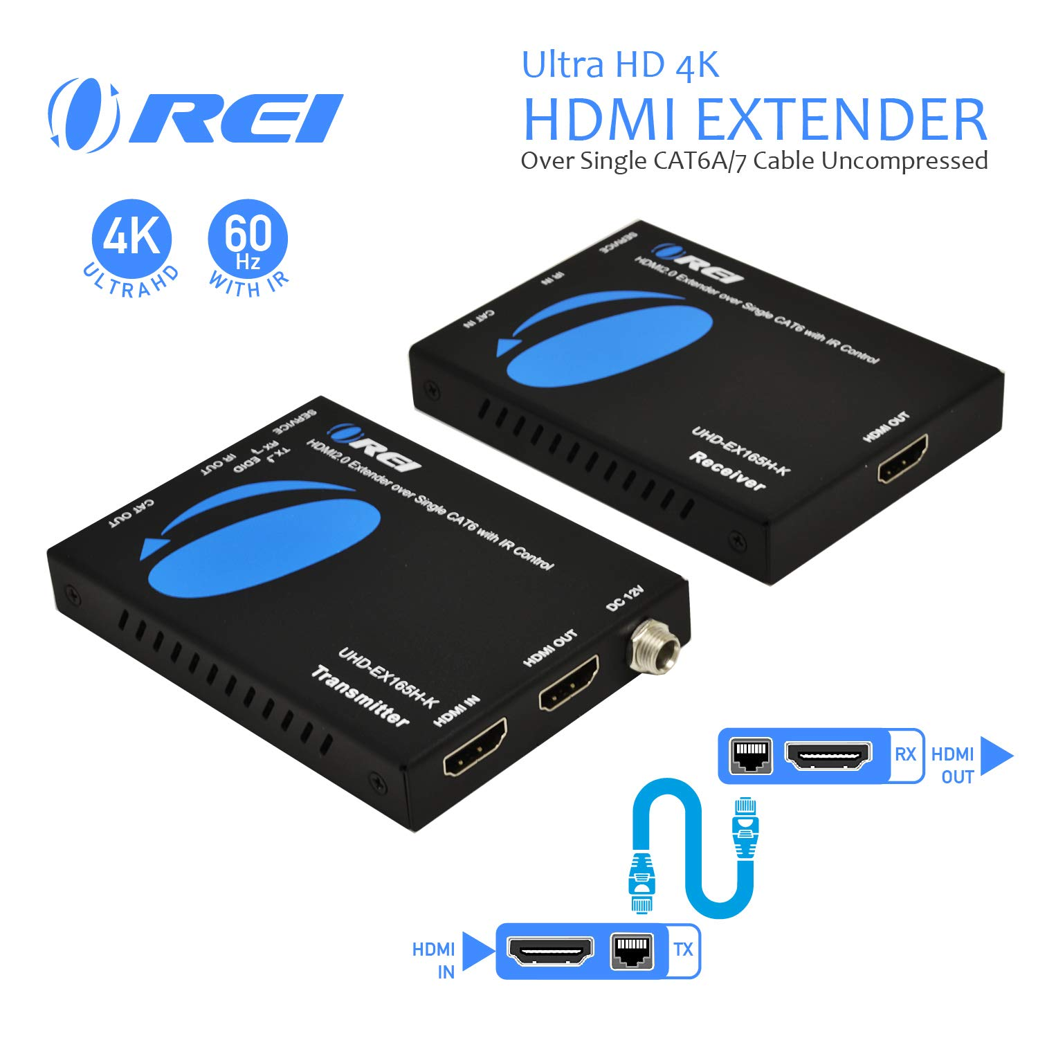 Orei HDMI Extender UltraHD Over Single Cat6/Cat7 Cable 4K @ 60Hz with HDR & IR Control - Up to 165 ft EDID Management by Orei