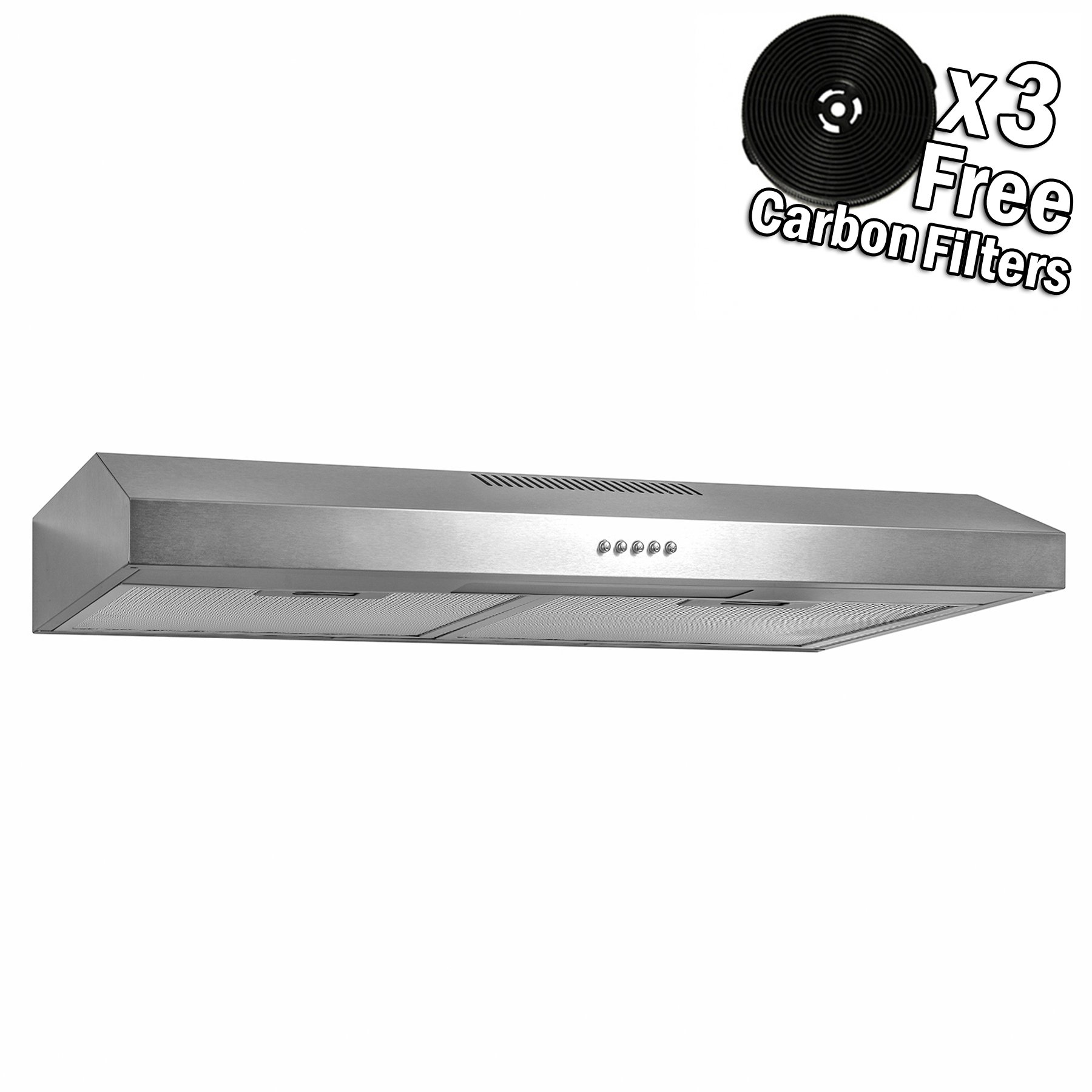 AKDY 24'' Under Cabinet Stainless Steel Push Panel Kitchen Range Hood Cooking Fan w/Carbon Filters … (24)