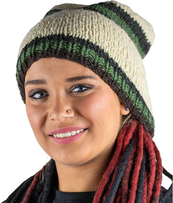 Wollmütze Beanie Warme Mütze Rasta Wolle Wintermütze Kopfbedeckung Hippie Winter