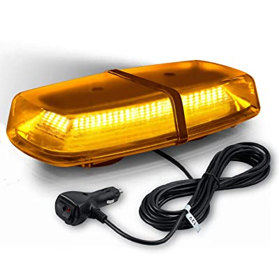 Amber 72LED 72W High Intensity Law Enforcement Emergency Hazard Warning LED Mini Bar Strobe Light with Magnetic Base for Snow Plow Police Trucks Vehicles: Automotive