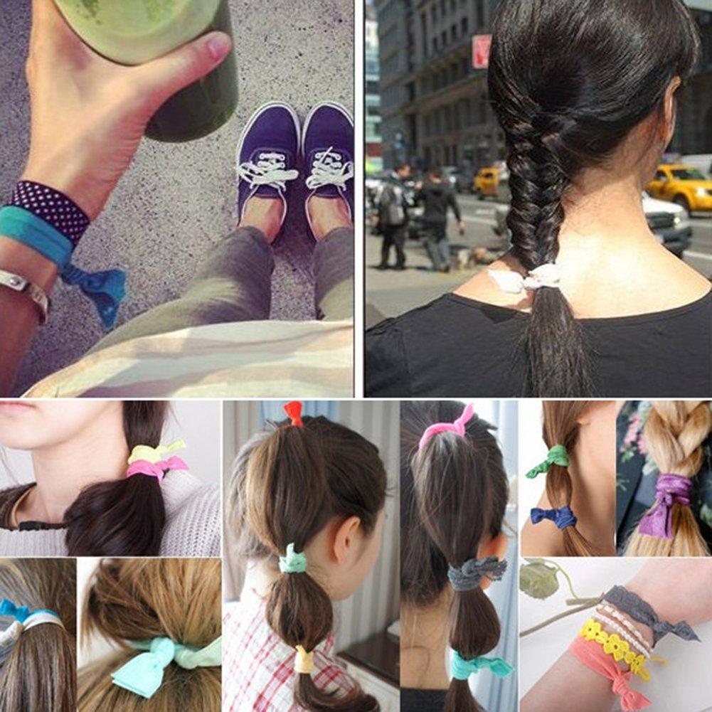 accessori per capelli Candora/® 100/pezzi fascia elastica per fare la coda nastro colorato elastico con nodo per capelli da donna e ragazza elastici per capelli