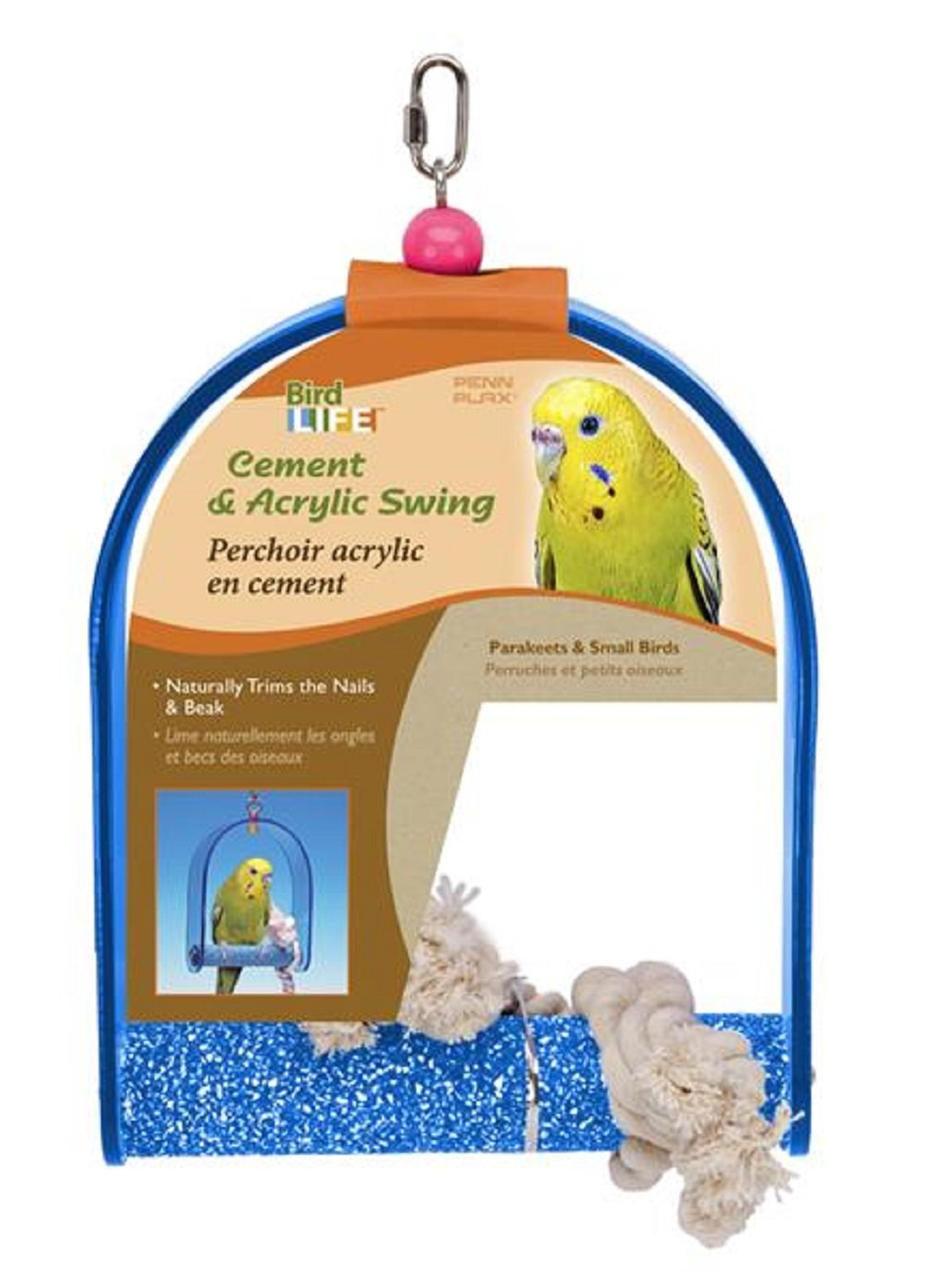 Penn Plax Cement and Acrylic Swing with Rope Bird Toy – Small Bird Penn-Plax BA270