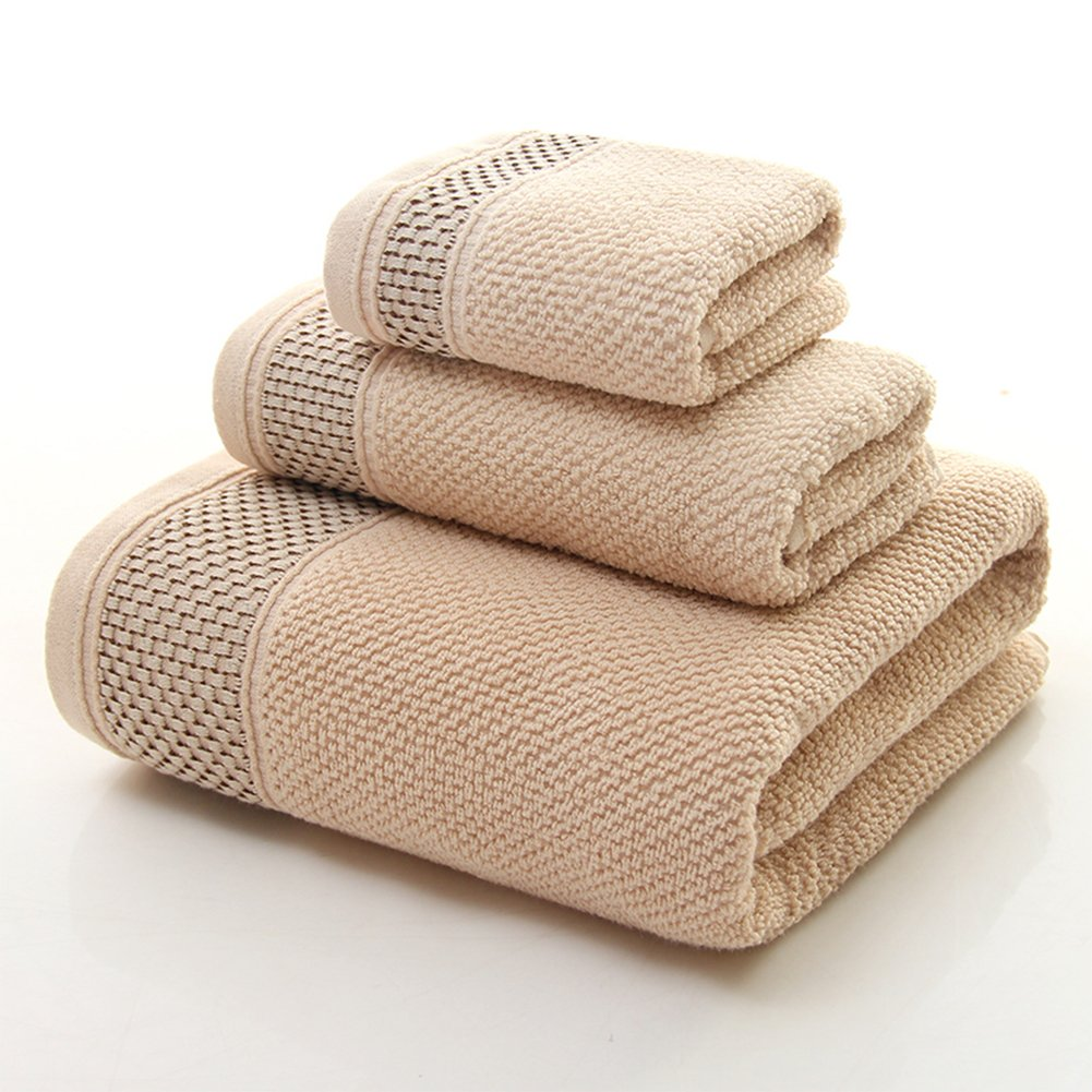 Ivyeer Luxury Bath Room 3-Piece Towel Set, Made of 100% Premium Long-Staple Combed Cotton, Hotel & Spa Quality Washcloths, Hand Towels, and Bath Towels (Tan)