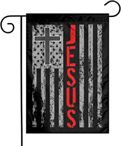 AIJEESI 12 x18 Inch Floral Garden Yard Flag, Jesus Christ Lord Cross American Banner for Home Decorative House Yard Sign