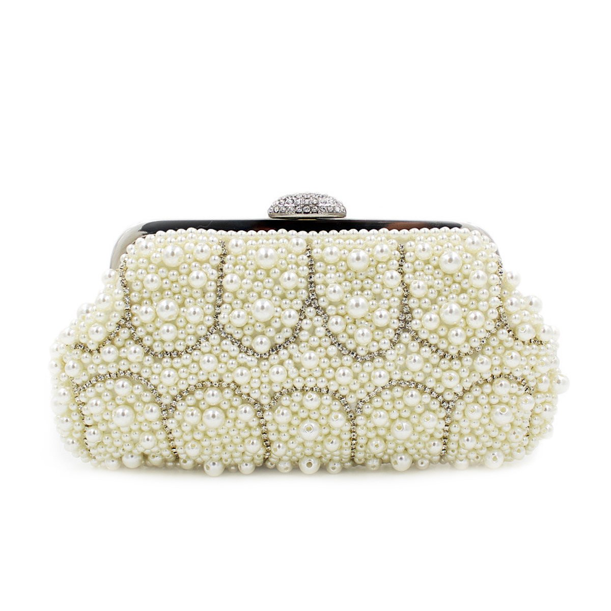 Flada Clutch Handbags for Women Pearl Evening Clutches for Weddings Purse with Handle