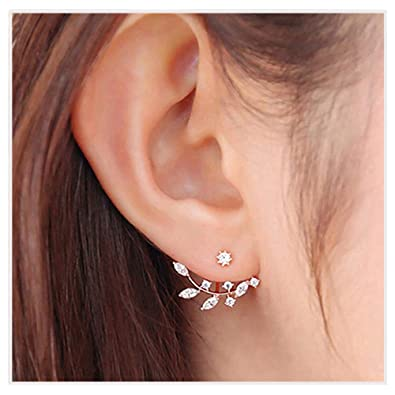 835758818 Elensan Rose Gold Leaf with Cz Crystal Ear Cuff Jacket Front Back Stud  Earring for Woman