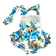 3 Style Baby Girl Lace Tassel Dress Backless Halter Ruffled Romper with Headband (0-6 M, Blue+Lace)