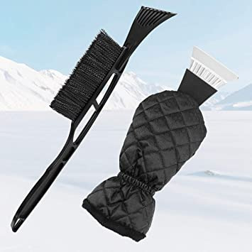 Zmoon Ice Scraper for Car,Ice Scraper Mitt Windshield Snow Scrapers with Waterproof Snow Remover Glove Lined of Thick Fleece Black