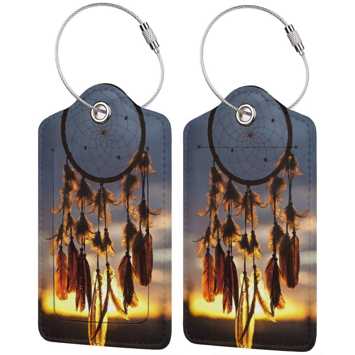 Dream Catcher Travel Luggage Tags With Full Privacy Cover Leather Case And Stainless Steel Loop