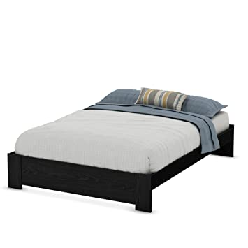 south shore mikka platform bed frame queen black oak